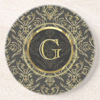 Diamonds & Gold Fine Shading Pattern-Customizable Coaster