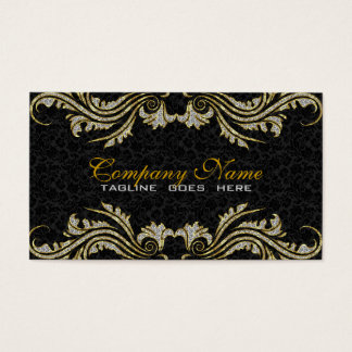 Diamonds & Gold Swirls, Black Damasks