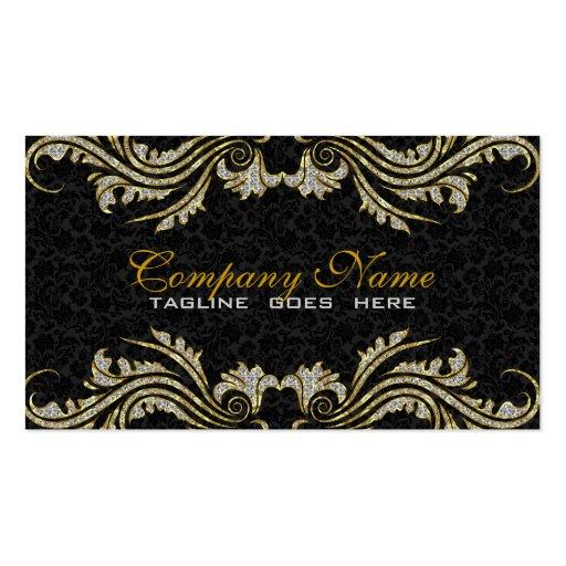 Diamonds & Gold Swirls, Black Damasks Business Card Templates