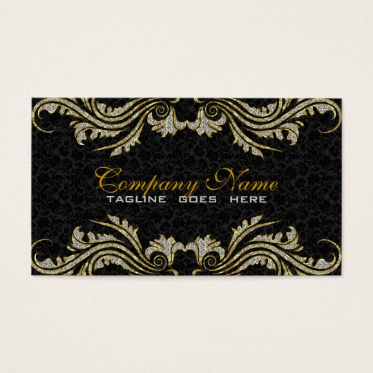 Diamonds & Gold Swirls, Black Damasks Business Card