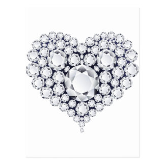Diamonds Heart Gems Postcard