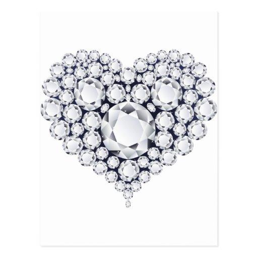 Diamonds Heart Gems Postcards