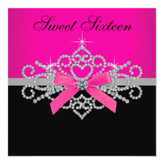 Diamonds Hot Pink Black Sweet 16 Birthday Party 13 Cm X 13 Cm Square Invitation Card