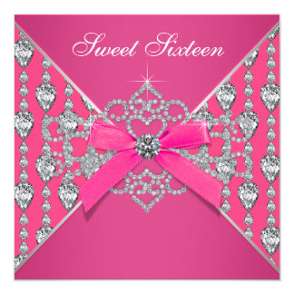 Diamonds Hot Pink Sweet 16 Birthday Party 13 Cm X 13 Cm Square Invitation Card