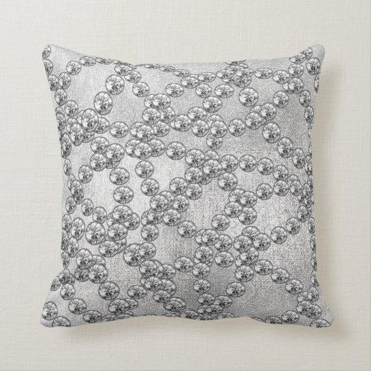 Diamonds Jewels Decor Silver Gray Metallic Cushion