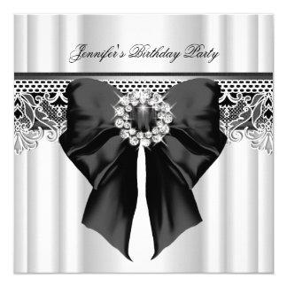 Diamonds Lace Image Birthday Party Black White Card