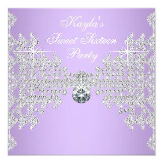 Diamonds Lavender Purple Sweet 16 Birthday Party 13 Cm X 13 Cm Square Invitation Card