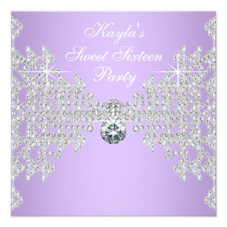 Diamonds Lavender Purple Sweet 16 Birthday Party Card