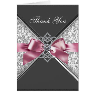 Diamonds Pink Black Damask Thank You Cards