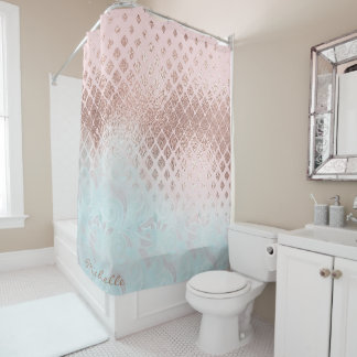 Diamonds Rose Gold Foil and Powder Blue ID400 Shower Curtain