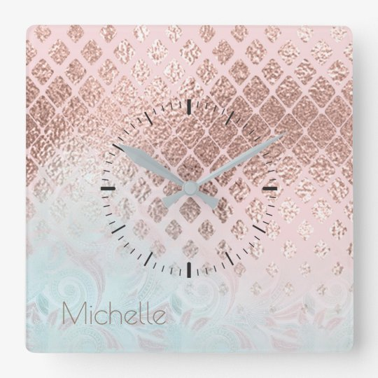 Diamonds Rose Gold Foil and Powder Blue ID400