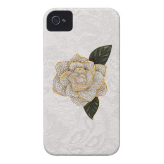 Diamonds Rose on White Paisley Lace Case-Mate iPhone 4 Case