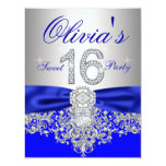 Diamonds Royal Blue and Silver Sweet 16 Party Custom Invitations