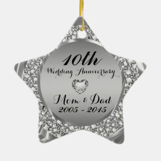 Diamonds & Silver 10th Wedding Anniversary 2 Christmas Ornament