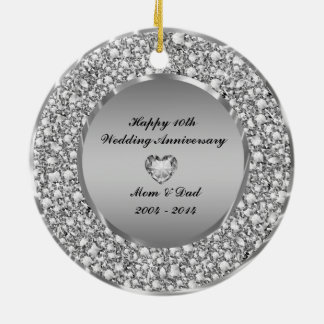 Diamonds & Silver 10th Wedding Anniversary Christmas Ornament