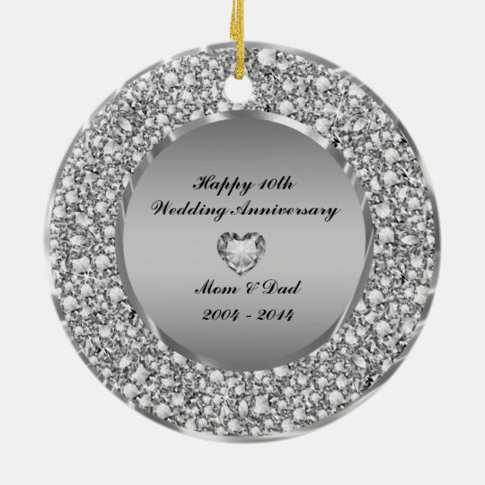 Diamonds & Silver 10th Wedding Anniversary Christmas Ornament
