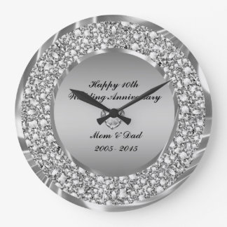 Diamonds & Silver 10th Wedding Anniversary Large Clock