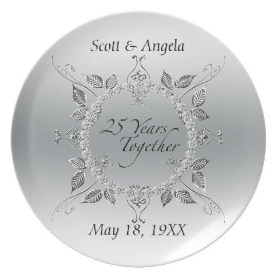 Diamonds Silver 25th Wedding Anniversary 25 Years Plate