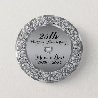 Diamonds & Silver 25th Wedding Anniversary 2 6 Cm Round Badge