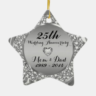 Diamonds & Silver 25th Wedding Anniversary 2 Ceramic Star Decoration