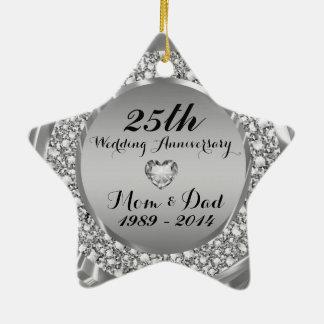 Diamonds & Silver 25th Wedding Anniversary 2 Christmas Tree Ornament