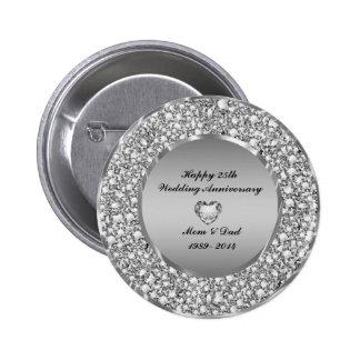 Diamonds & Silver 25th Wedding Anniversary 6 Cm Round Badge