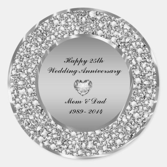 Diamonds & Silver 25th Wedding Anniversary Classic Round