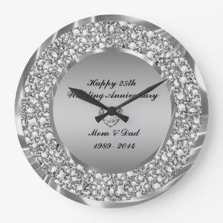 Diamonds & Silver 25th Wedding Anniversary Clocks