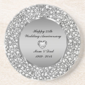 Diamonds & Silver 25th Wedding Anniversary Coaster