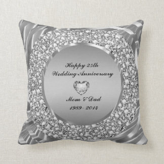 Diamonds & Silver 25th Wedding Anniversary Cushion