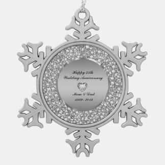 Diamonds & Silver 25th Wedding Anniversary Ornament