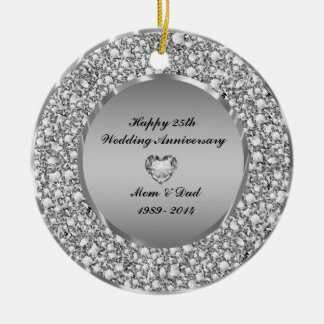 Diamonds & Silver 25th Wedding Anniversary Christmas Tree Ornament