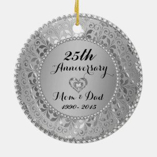 Diamonds & Silver 25th Wedding Anniversary Christmas Tree Ornaments
