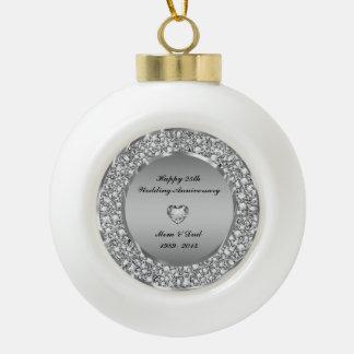 Diamonds & Silver 25th Wedding Anniversary Ceramic Ball Decoration