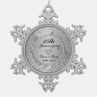 Diamonds & Silver 25th Wedding Anniversary Pewter Snowflake Decoration
