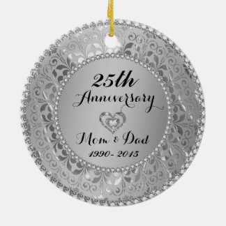 Diamonds & Silver 25th Wedding Anniversary Round Ceramic Decoration