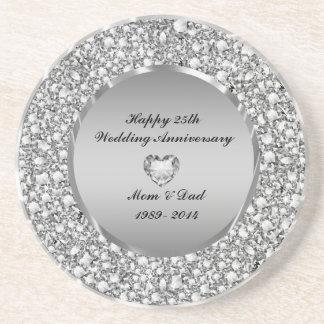 Diamonds & Silver 25th Wedding Anniversary Sandstone Coaster