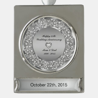 Diamonds & Silver 25th Wedding Anniversary Silver Plated Banner Ornament
