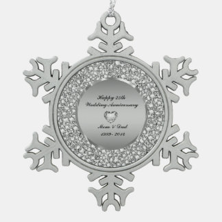 Diamonds & Silver 25th Wedding Anniversary Snowflake Pewter Christmas Ornament