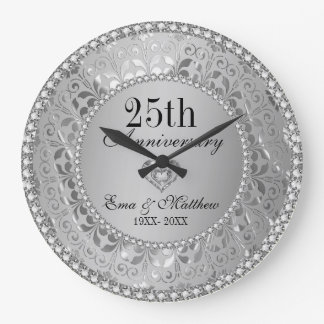 Diamonds & Silver 25th Wedding Anniversary Wallclock