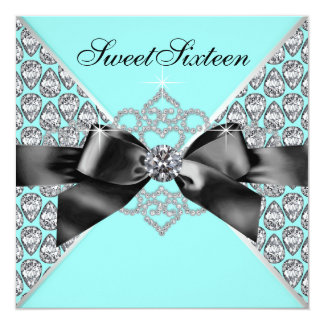 Diamonds Teal Blue Black Sweet 16 Birthday Party 13 Cm X 13 Cm Square Invitation Card