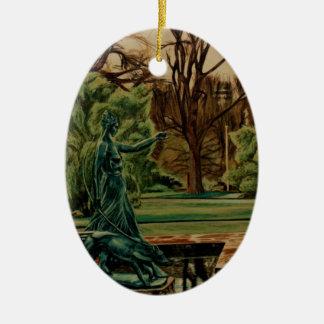 Diana Artemis Sculpture In Gardens Ceramic Oval Decoration