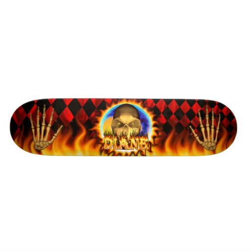 Diane skull real fire and flames skateboard design