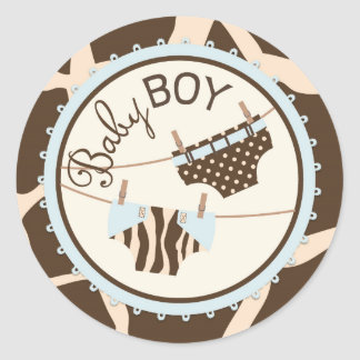 Diaper Clotheline Animal Print Baby Shower Label