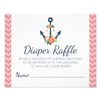 Diaper Raffle Anchor Floral Girl Baby Shower Game Flyer