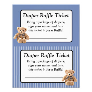 Diaper Raffle Baby Shower Game Blue Teddy Bear Flyer