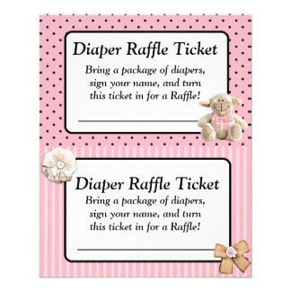Diaper Raffle Baby Shower Game, Pink Bow Shabby Flyer