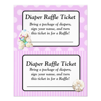 Diaper Raffle Baby Shower Game, Purple Bow Shabby 11.5 Cm X 14 Cm Flyer