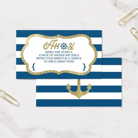 Diaper Raffle Ticket, Ahoy, Nautical, Faux Gold Business