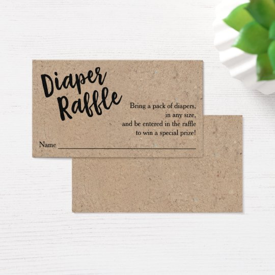 Diaper Raffle Ticket, Black Script Kraft Business Card